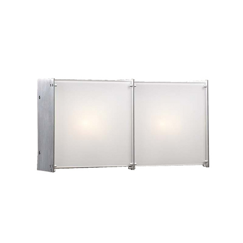 PLC Lighting Modern Bathroom Light with White Glass in Aluminum Finish 1172 AL