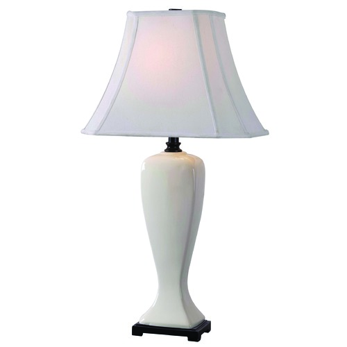 Kenroy Home Lighting Table Lamp with Beige / Cream Shade in Pearlized White Finish 32070PWH