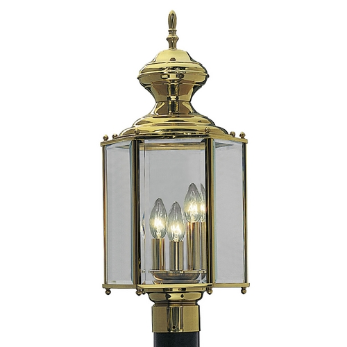 Progress Lighting Progress Post Light with Clear Glass in Polished Brass Finish P5432-10