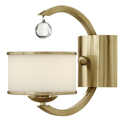 Hinkley Lighting Sconce Wall Light with White Glass in Brushed Caramel Finish 4850BC