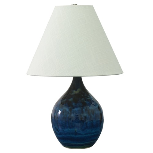 House of Troy Lighting House Of Troy Scatchard Midnight Blue Table Lamp with Conical Shade GS200-MID
