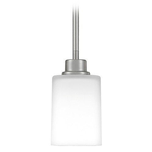 Quoizel Lighting Quoizel Lighting Pruitt Brushed Nickel Mini-Pendant Light with Cylindrical Shade PRUO1507BN