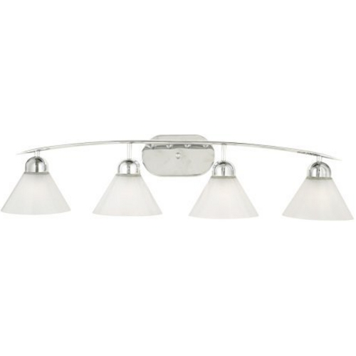 Quoizel Lighting Modern Bathroom Light with White Glass in Polished Chrome Finish DI8504C