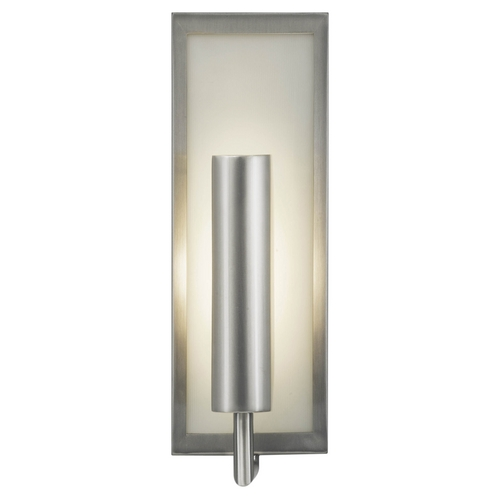 Feiss Lighting Modern Sconce Wall Light with White Glass in Brushed Steel Finish WB1451BS