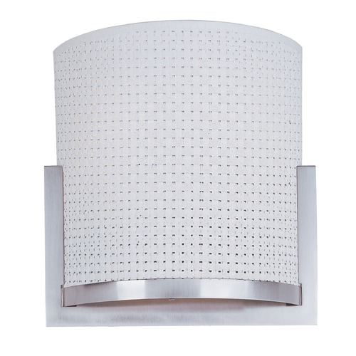 ET2 Lighting Modern Sconce Wall Light with White Shade in Satin Nickel Finish E95080-100SN