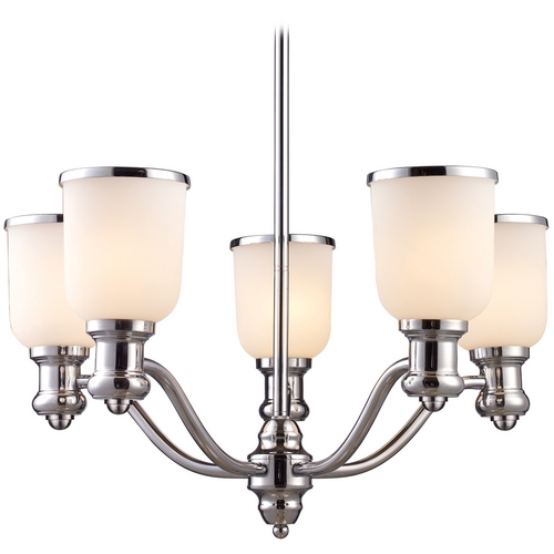 Elk Lighting Chandelier with White Glass in Polished Chrome Finish 66153-5