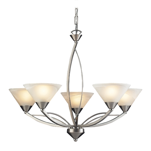 Elk Lighting Modern Chandelier with White Glass in Satin Nickel Finish 7637/5