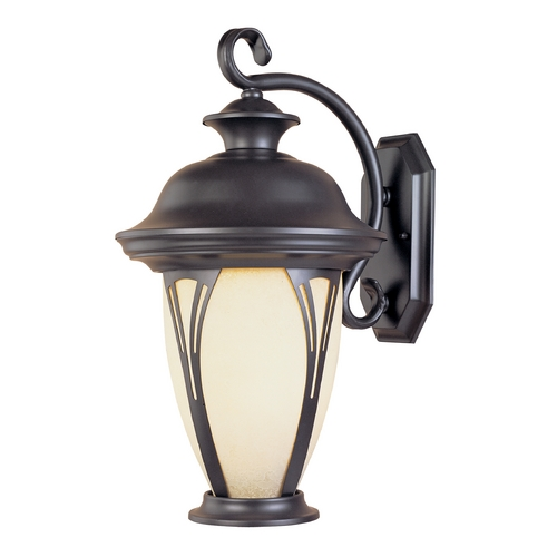 Designers Fountain Lighting Outdoor Wall Light with Amber Glass in Bronze Finish 30511-AM-BZ