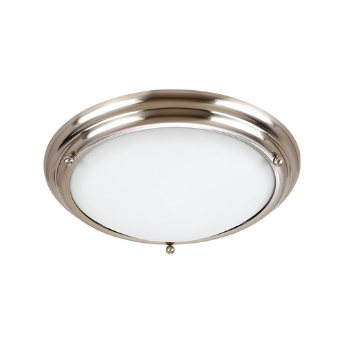 Sea Gull Lighting Flushmount Light with White Glass in Brushed Stainless Finish 79130BLE-98