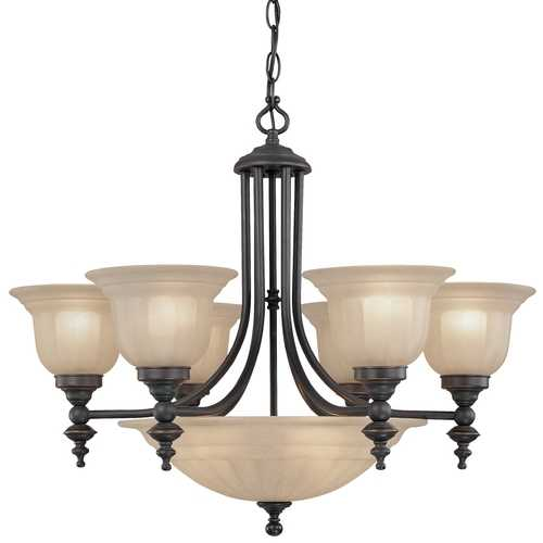 Dolan Designs Lighting Bronze Finish Transitional Chandelier with Center Bowl 665-78