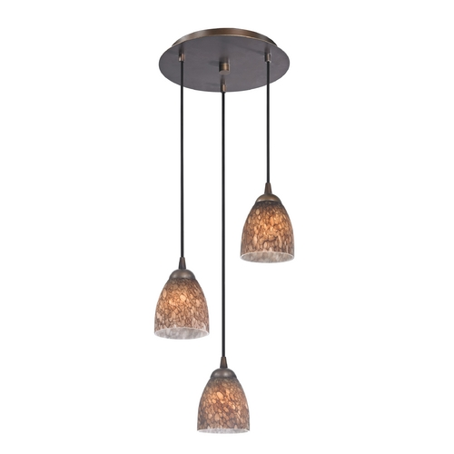Design Classics Lighting Modern Multi-Light Pendant Light with Brown Art Glass and 3-Lights 583-220 GL1016MB