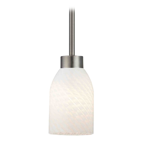 Design Classics Lighting Modern Mini-Pendant Light with White Glass 1123-1-09 GL1020D