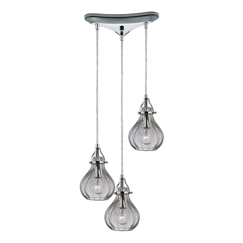 Elk Lighting Multi-Light Pendant Light with Clear Glass and 3-Lights 46014/3