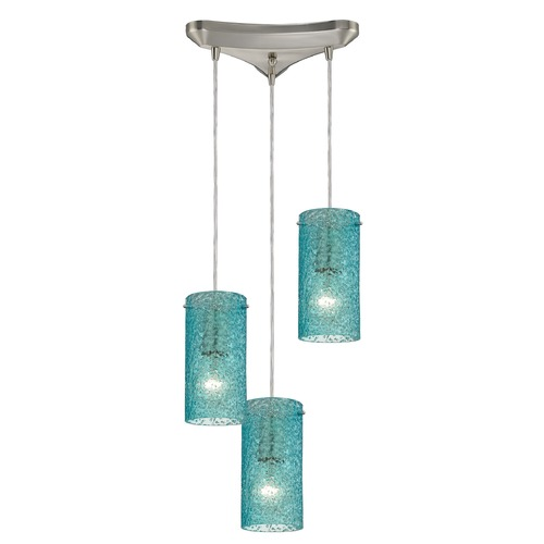 Elk Lighting Elk Lighting Ice Fragments Satin Nickel Multi-Light Pendant with Cylindrical Shade 10242/3AQ