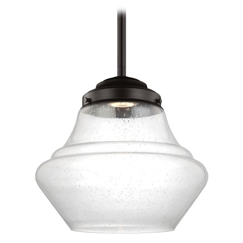 Feiss Lighting LED Schoolhouse Pendant Light Seeded Glass Bronze 12-Inch Wide by Feiss Lighting P1407ORB-LED