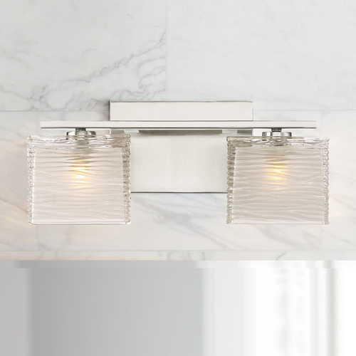 Quoizel Lighting Quoizel Westcap Brushed Nickel 2-Light Bathroom Light with Sandblased and Clear Glass Shades WCP8602BN