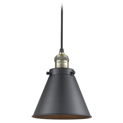 Innovations Lighting Innovations Lighting Appalachian Black Antique Brass Mini-Pendant Light with Conical Shade 201C-BAB-M13-BK