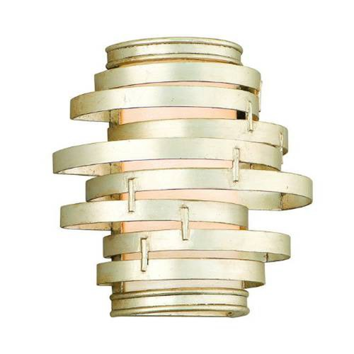 Corbett Lighting Modern Sconce with Silver Glass Shade in Modern Silver Leaf Finish 128-13