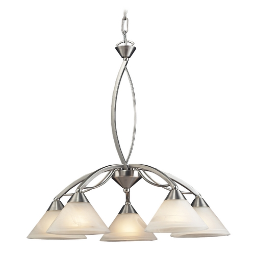 Elk Lighting Modern Chandelier with White Glass in Satin Nickel Finish 7636/5
