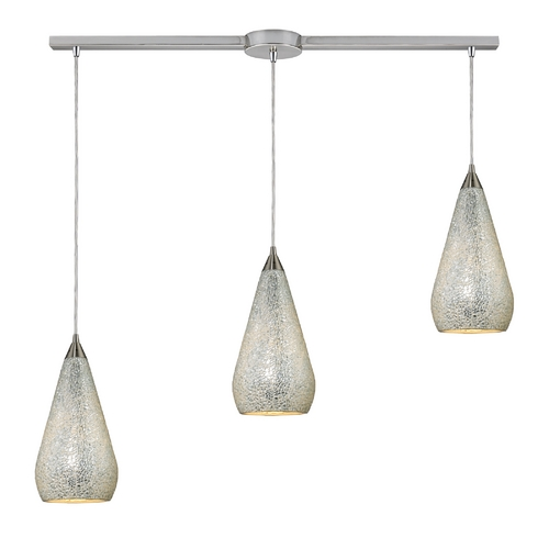 Elk Lighting Modern Multi-Light Pendant Light with Art Glass and 3-Lights 546-3L-SLV-CRC