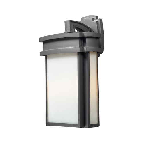 Elk Lighting Outdoor Wall Light with White Glass in Graphite Finish 42342/2