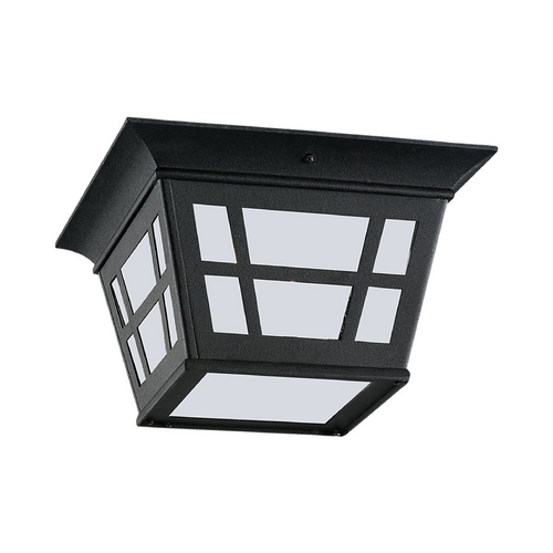 Sea Gull Lighting Close To Ceiling Light with White Glass in Black Finish 79131BLE-12