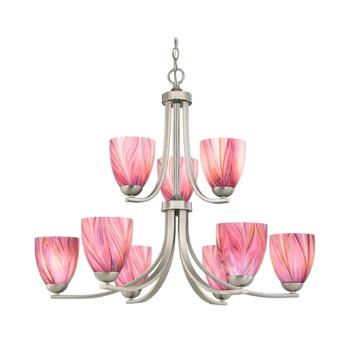 Design Classics Lighting Modern Chandelier with Two Tiers and Pink Art Glass Bell Shades 586-09 GL1004MB