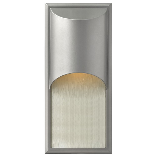 Hinkley Lighting Modern Outdoor Wall Light with White Shade in Titanium Finish 1834TT