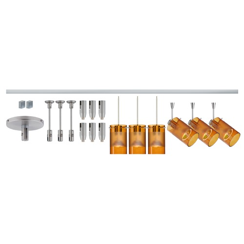 Besa Lighting Besa Lighting Scope Amber Frosted Glass Satin Nickel LED Rail Kit R12-K08LE-6524EG-SN
