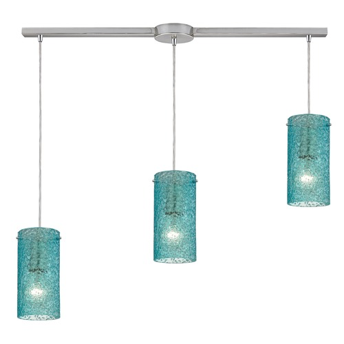 Elk Lighting Elk Lighting Ice Fragments Satin Nickel Multi-Light Pendant with Cylindrical Shade 10242/3L-AQ