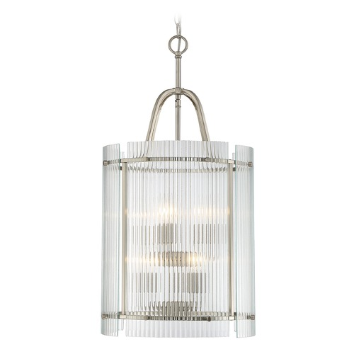 Savoy House Savoy House Lighting Afton Satin Nickel Pendant Light with Cylindrical Shade 3-3087-6-SN
