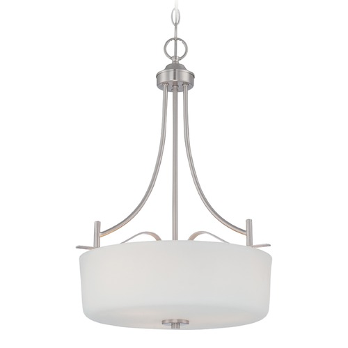 Designers Fountain Lighting Designers Fountain Cassina Satin Platinum Pendant Light with Drum Shade 86931-SP