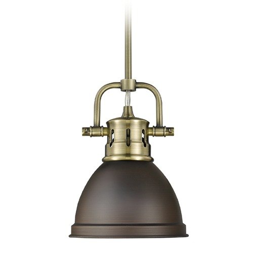 Golden Lighting Golden Lighting Duncan Ab Aged Brass Mini-Pendant Light with Bowl / Dome Shade 3604-M1L AB-RBZ