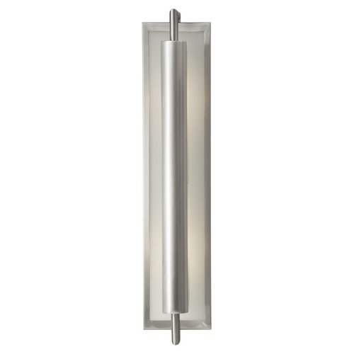 Feiss Lighting Modern Sconce Wall Light with White Glass in Brushed Steel Finish WB1452BS