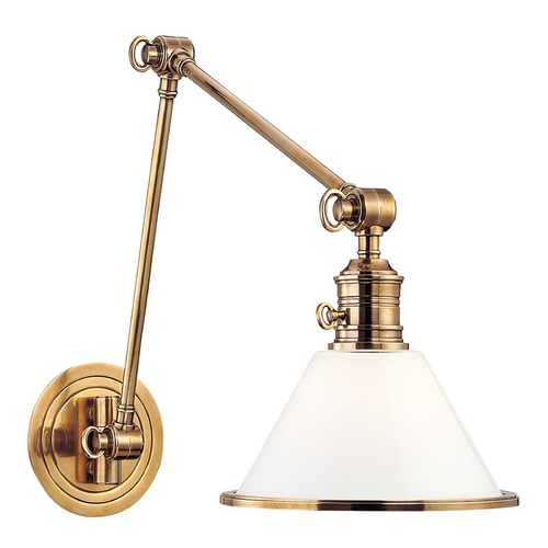 Hudson Valley Lighting Swing Arm Lamp with White Glass in Aged Brass Finish 8333-AGB