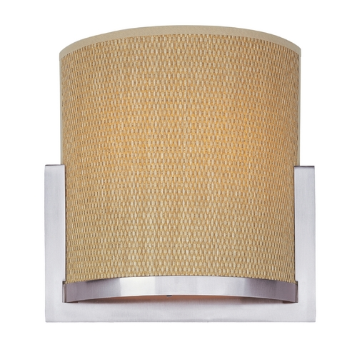 ET2 Lighting Modern Sconce Wall Light with Brown Shade in Satin Nickel Finish E95080-101SN