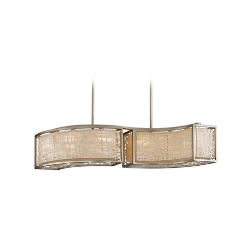 Corbett Lighting Modern Drum Pendant Light with White Paper Shades in Silver Leaf Finish 131-56