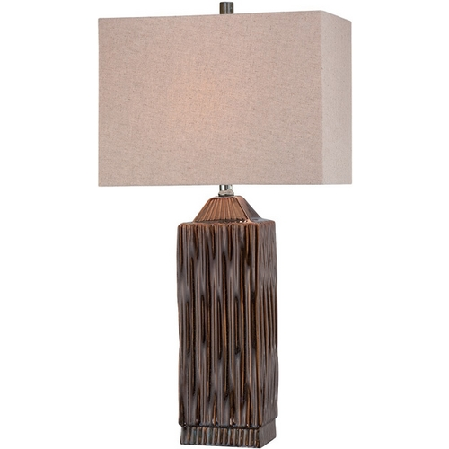Lite Source Lighting Modern Table Lamp with White Shade in Dark Walnut Finish LS-21619