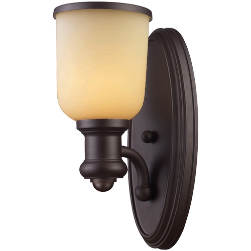 Elk Lighting Sconce Wall Light with Amber Glass in Oiled Bronze Finish 66170-1