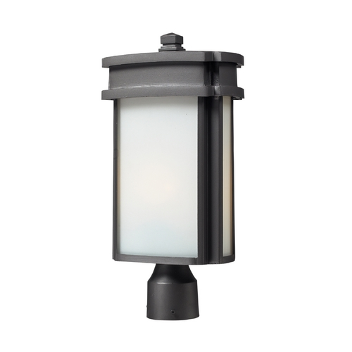 Elk Lighting Post Light with White Glass in Graphite Finish 42345/1
