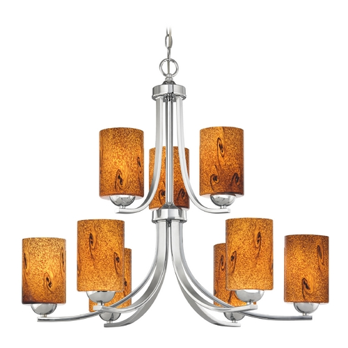 Design Classics Lighting Modern Chandelier with Brown Art Glass in Polished Chrome Finish 586-26 GL1001C