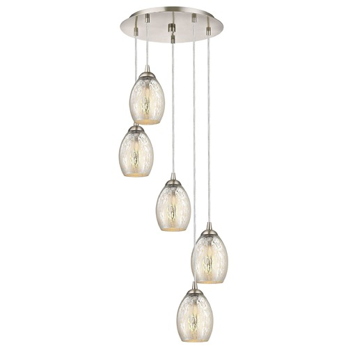 Design Classics Lighting Satin Nickel Multi-Light Pendant with Mercury Oblong Glass and 5-Lights 580-09 GL1034-MER
