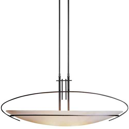 Hubbardton Forge Lighting Modern Pendant Light with White Glass in Dark Smoke Finish 134325-07