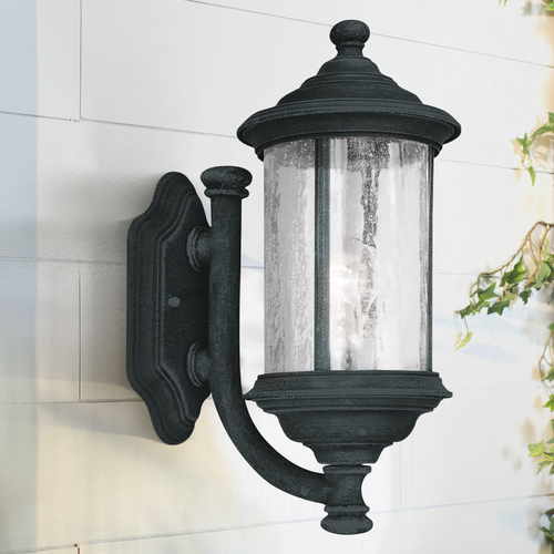 Dolan Designs Lighting Seeded Glass Outdoor Wall Light Black 15-Inch Dolan Designs 915-50