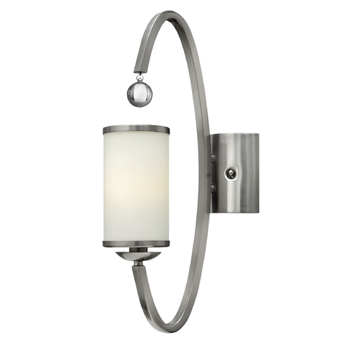 Hinkley Lighting Sconce Wall Light with White Glass in Brushed Nickel Finish 4851BN