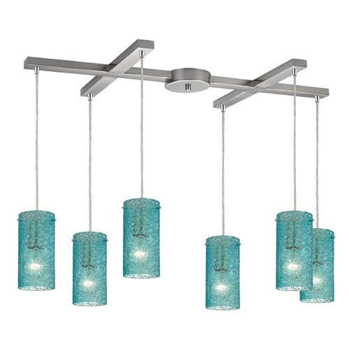 Elk Lighting Elk Lighting Ice Fragments Satin Nickel Multi-Light Pendant with Cylindrical Shade 10242/6AQ