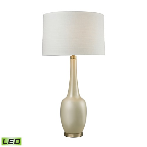 Dimond Lighting Dimond Lighting Cream Glaze, Antique Brass LED Table Lamp with Drum Shade D2611C-LED