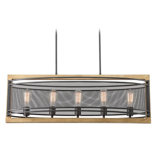 Satco Lighting Satco Lighting Atelier Black / Honey Wood Island Light with Oval Shade 60/7265