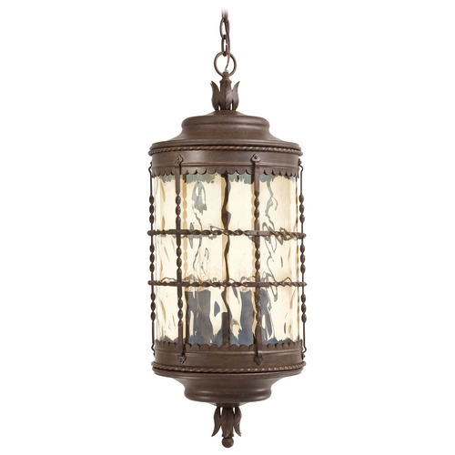 Minka Lavery Outdoor Hanging Light with Clear Glass in Vintage Rust Finish 8884-A61
