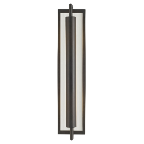 Feiss Lighting Modern Sconce Wall Light with White Glass in Oil Rubbed Bronze Finish WB1452ORB